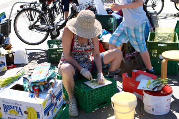 Schnibbeln für Foodsharing auf dem Rathausmarkt, Hamburg, Mai 2016